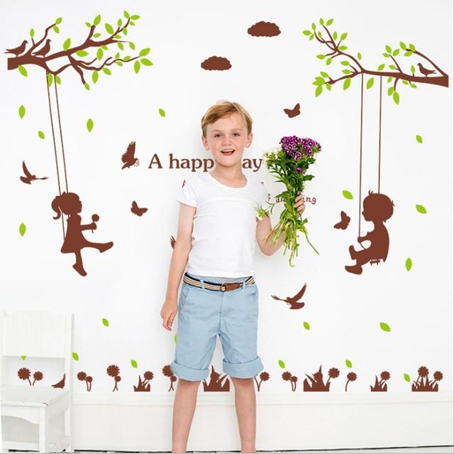 Junge Madchen Schaukel Englisch Buchstaben Baume Vogel Wandaufkleber