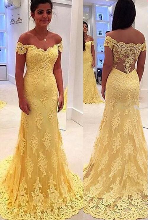 Aliexpress Buy Modern Yellow Lace Appliques Evening Dresses Long Mermaid Cap Sleeve Party Prom Gown From Reliable Meaning Suppliers On Ysfs I Do