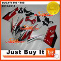100% Fit For DUCATI 899 1199 2013 2014 Panigale S Tricolore Pearl White Motorcycle FAIRING KIT SHELL ABS Injection Mold Cowling