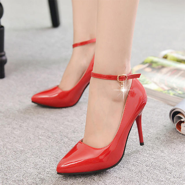 2015 Women Pumps Sexy Buckle/Ankle Strap Type Fashional Spring/Autumn Pointed Toe Lady Elegent Spool Heel Wedding Shoes