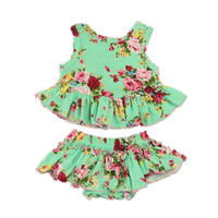 2016 Newest Baby Romper Dress Cute Design Vintage Floral L Flower Printed Matched Bloomers With Headband