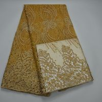 Gold African French Lace Fabric High Quality Tulle Guipure Lace Fabric For Wedding Beaded French Lace