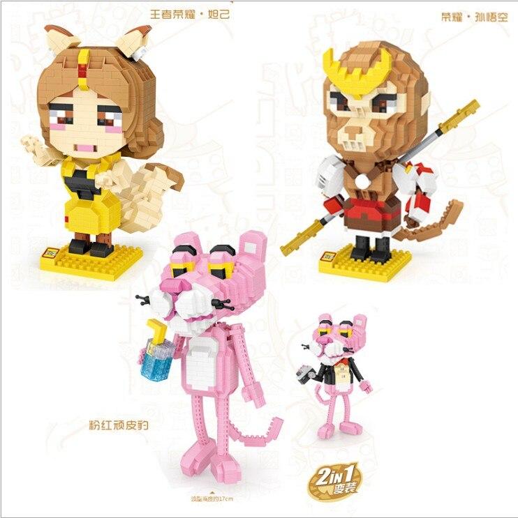 LOZ Mini Blocos Tijolos Sun Wu Kong Da JI 2in1 Pantera Cor de Rosa Bonito Estatueta Dom Brinquedos para Crianças blocos de Construção de Montagem modelo 9785