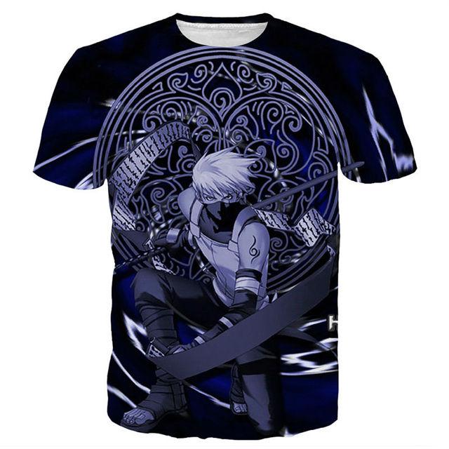 Naruto Kakashi Print Short Sleeve Casual T Shirt