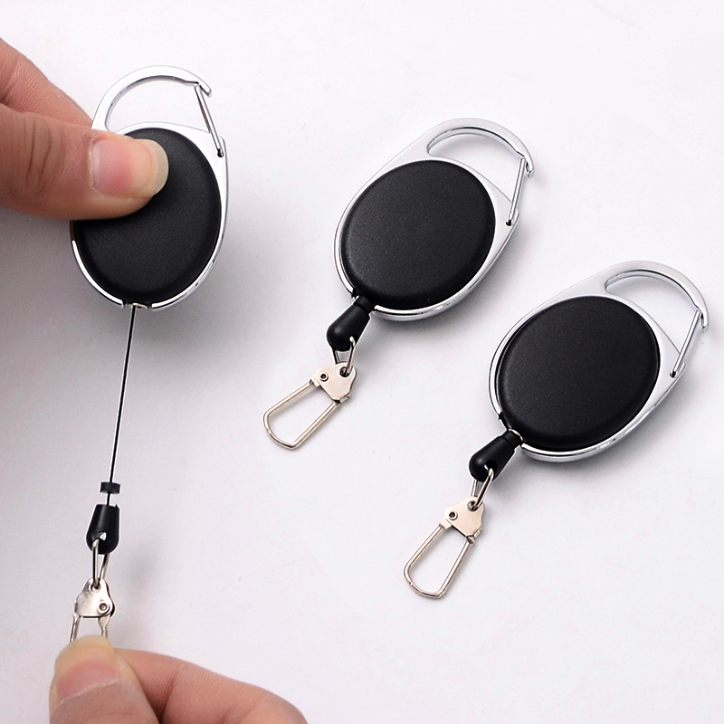 Retractable Pull Key Ring ID Badge ABS Plastic Card Badge Holder Reels Recoll Office Stationery Supply With Chain Clips