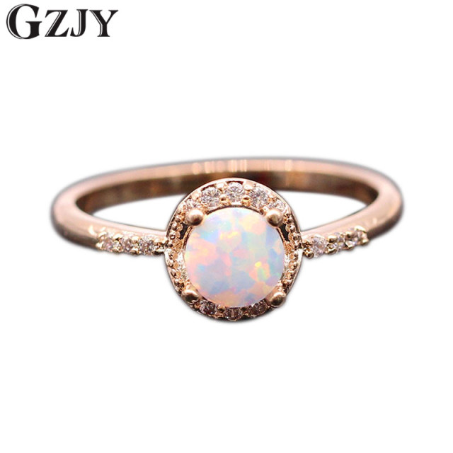 GZJY Beautiful Cute Simple Round Jewelry White Fire Opal Zircon Champagne Gold C