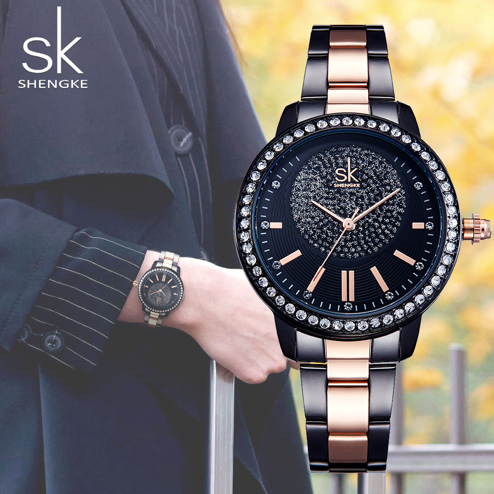 SK Rose Gold Watch Kvinnor Quartz Klockor Ladies Top Brand Full - Damklockor