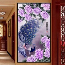 2016 Diamond embroidery Diy diamond Painting Cross Stitch Purple peacock picture Home Decoration 5D Needlework diamond Mosaic