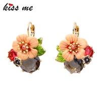 Ms Fashion Major Suit Joker Enamel Flowers Color Focus Piercing Earrings Factory Wholesale