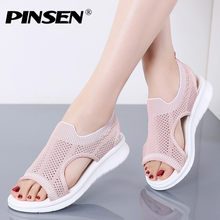 PINSEN Fashion 2019 Women Sandals New Female Shoes Women Summer Wedge Comfortable Sandals Ladies Flats Sandals Women Sandalias(China)