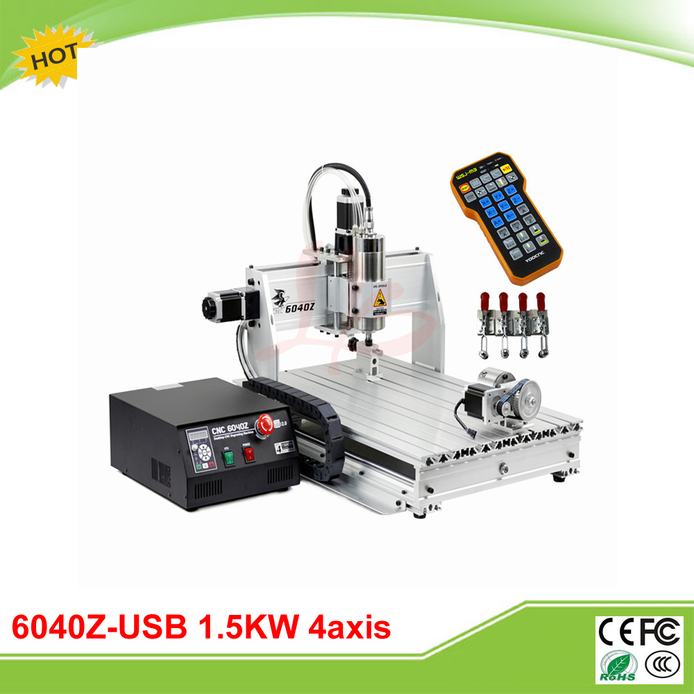 LY 6040Z-USB 4 axis mini CNC router machine with mach3 remote control milling lathe cnc 5axis a aixs rotary axis t chuck type for cnc router cnc milling machine best quality