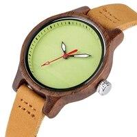 Reloj de madera mujer colores pulso cuero 3