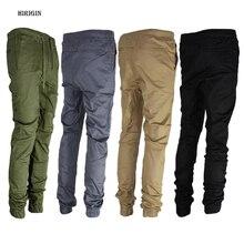 HIRIGIN 2017 Autumn Winter Men's Twill Jogger Pants Urban Hip Hop Harem Casual Trousers Slim Fit Elastic cargo pants males