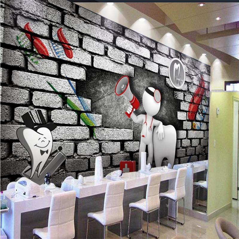 Beibehang Custom 3d Wallpaper 3D Brick Wall Doctor Dentist Horn Villain Wallpapers Decorative Wall Decoration