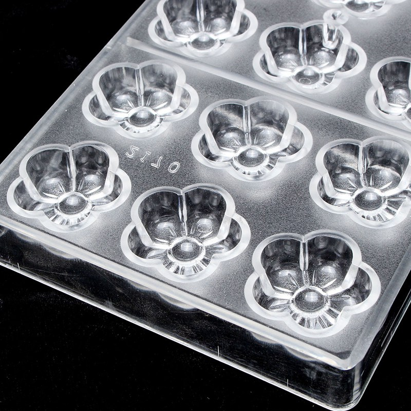 Clear Plum Flower Shaped Polycarbonate Sweet Candy Mold 18 DIY PC Chocolate Mould Tray DIY Handmade Kitchen Bar Dinner Tools