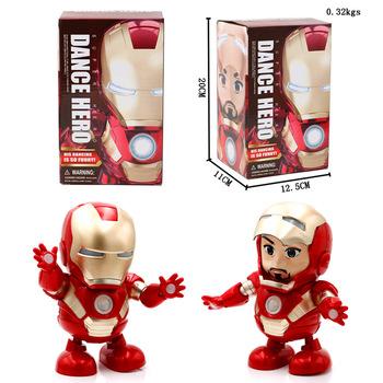 Taniec muzyka Avengers Iron Man zabawka robot LED muzyka latarka Tony Stark Iron Man figurka elektroniczna zabawka dla dzieci tanie i dobre opinie CXBEMTOY Puppets Model Żołnierz gotowy produkt Wyroby gotowe Unisex 18 cm Z tworzywa sztucznego Keep away from water 20x11x12 5CM