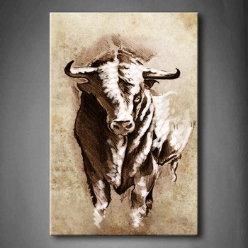 Wood Poster Frames   Framed Wall Art Picture Spanish Bull Horns Canvas Print Artwork Animal Modern Posters With Wooden Frames For Living Room