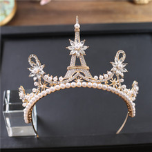 New Fashion Eiffel Tower Shape Bride Wedding Gold Color Crown Full Cystal Pearl Large Queen Crown Wedding Hair Jewelry WZ-GB001