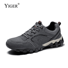 купить YIGER New Men Climbing shoes male Casual hiking shoes man leisure outdoor walking shoes lace-up Non-slip Wear resistant   0224 дешево
