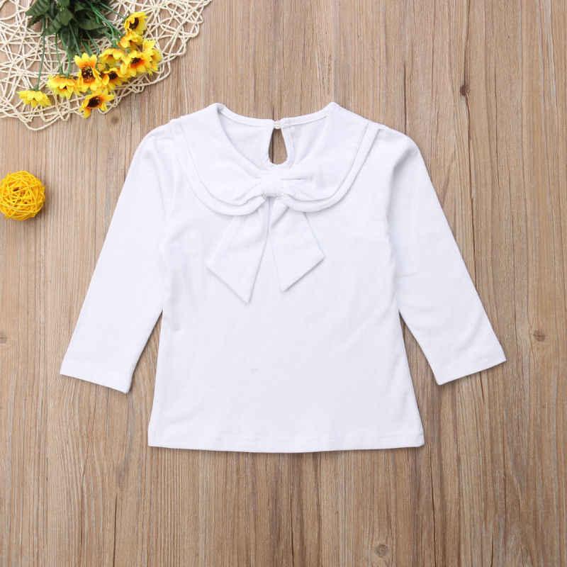 2018 nouvellement automne mignon joli enfant en bas âge bébé filles vêtements hauts 4 Style à manches longues col claudine solide pull T-Shirts hauts