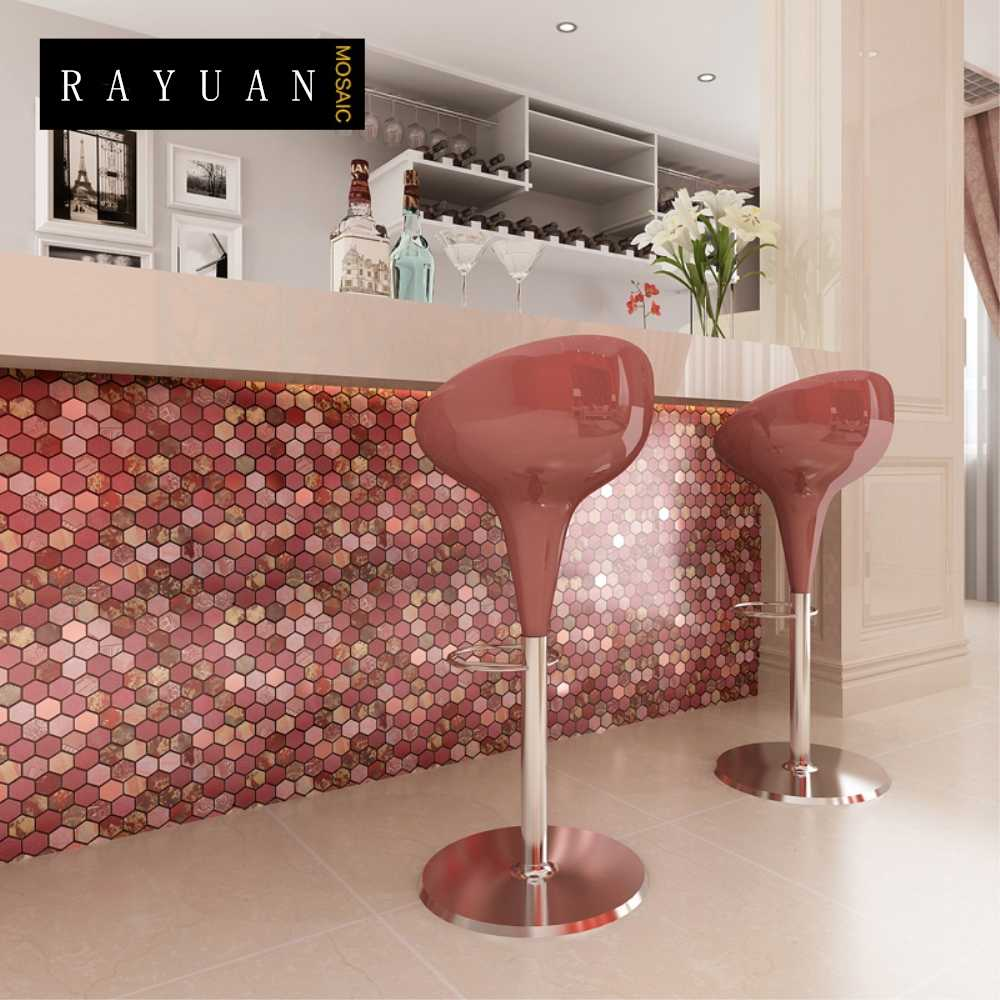 RAYUAN 4PCS Metal 3D Wall Sticker Aluminum Composite Wall Panel Kitchen Heat Resistance Board Wall Tile Mural Wallpaper