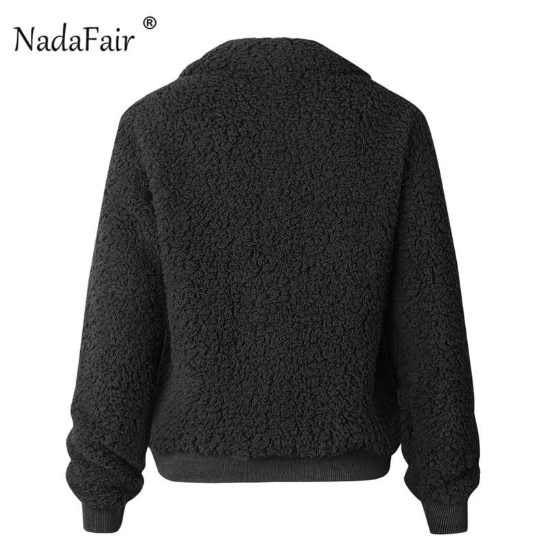 Nadafair Faux Fur Coat Women Autumn Winter Fluffy Teddy Jacket Coat Plus Size Long Sleeve Outerwear Turn Down Short Coat Female 23