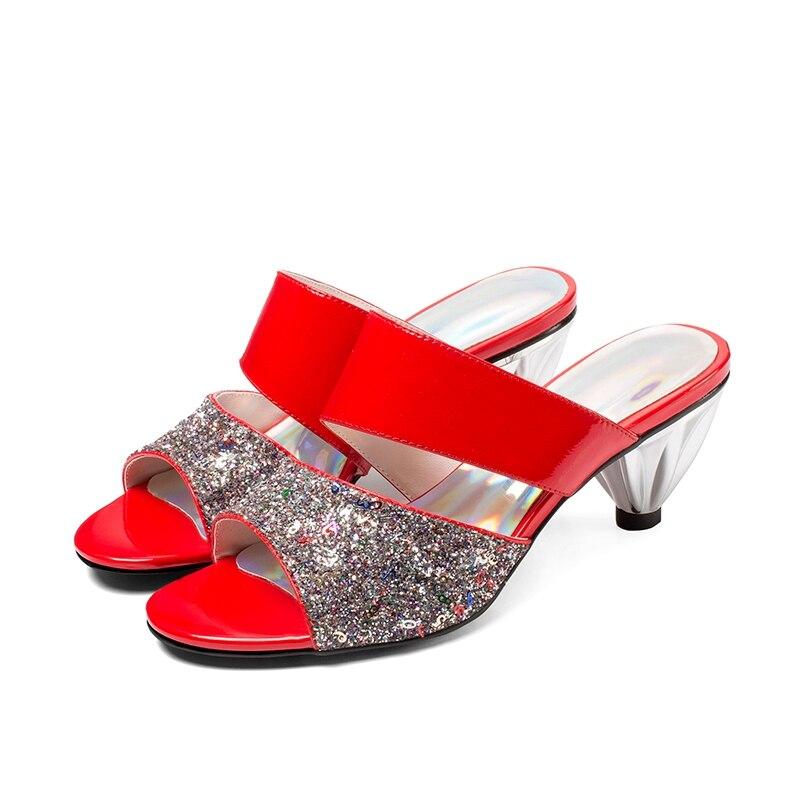 Bling Lenkisen Zapatos Cuero Cómodo Vaca Slingback Rojo Exterior Cuñas Manera Deslizador Simple plata De Mujeres Estilo Maduro L91 La Las rqr0gx