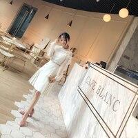 Deva Mode 2018 au début du printemps blanc Dentelle Robe, l'industrie lourde, soluble dans l'eau dentelle, bouillante, extravagant blanc robe