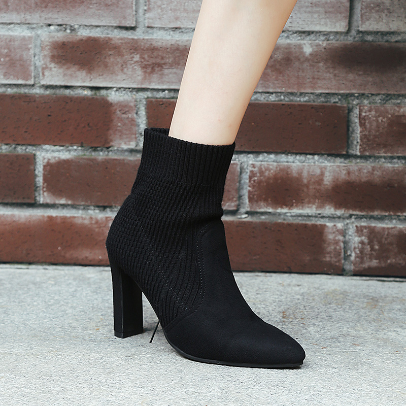 high heels ankle boots for women winter sock boots plush shoes woman botas mujer fur heels womans shoes fashions 2018 boot
