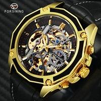 FORSINING Fashion Auto Mechanical Mens Watches Top Brand Luxury Leather Strap 3D Skeleton Dial Irregular Bezel Wrist Watch Men