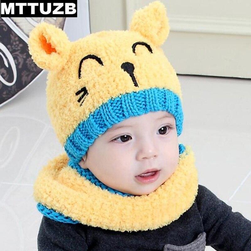 MTTUZB Mignon de bande dessinée enfants de mode chapeau écharpe ensemble garçons  filles automne hiver casquettes foulards accessoires de costume enfant 35e6dba2f2a