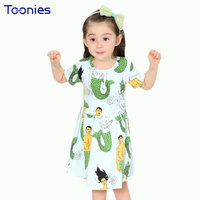Baby Girls Dress 2017 New Summer Cartoon Girls Party Princess Dresses Green Kids Christmas Costume Vestidos Child Clothes 2-7Yrs