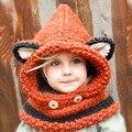 Moda Invierno Niños Crochet Sombrero Del Calentador del Cuello del Abrigo de La Bufanda de Una sola pieza gorrita tejida de Los Niños Sombreros Lindos Zorro Cuello de Ganchillo Muchacha Del Muchacho regalo