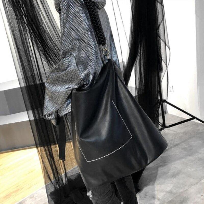 Modo Bolsa Sacchetto Morbido Sacchetti Elaborazione La Dell'unità Di Femmina Shopping Borsoni Grande Del Capienza Della Per Bag Delle Il Cuoio Nero Tessuto Spalla Borsa Donne pqwpgxz