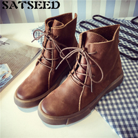 Vintage Martin Boots Female Fall 2017 New Casual Women Shoes Boots Flat Ankle Lace Up Round
