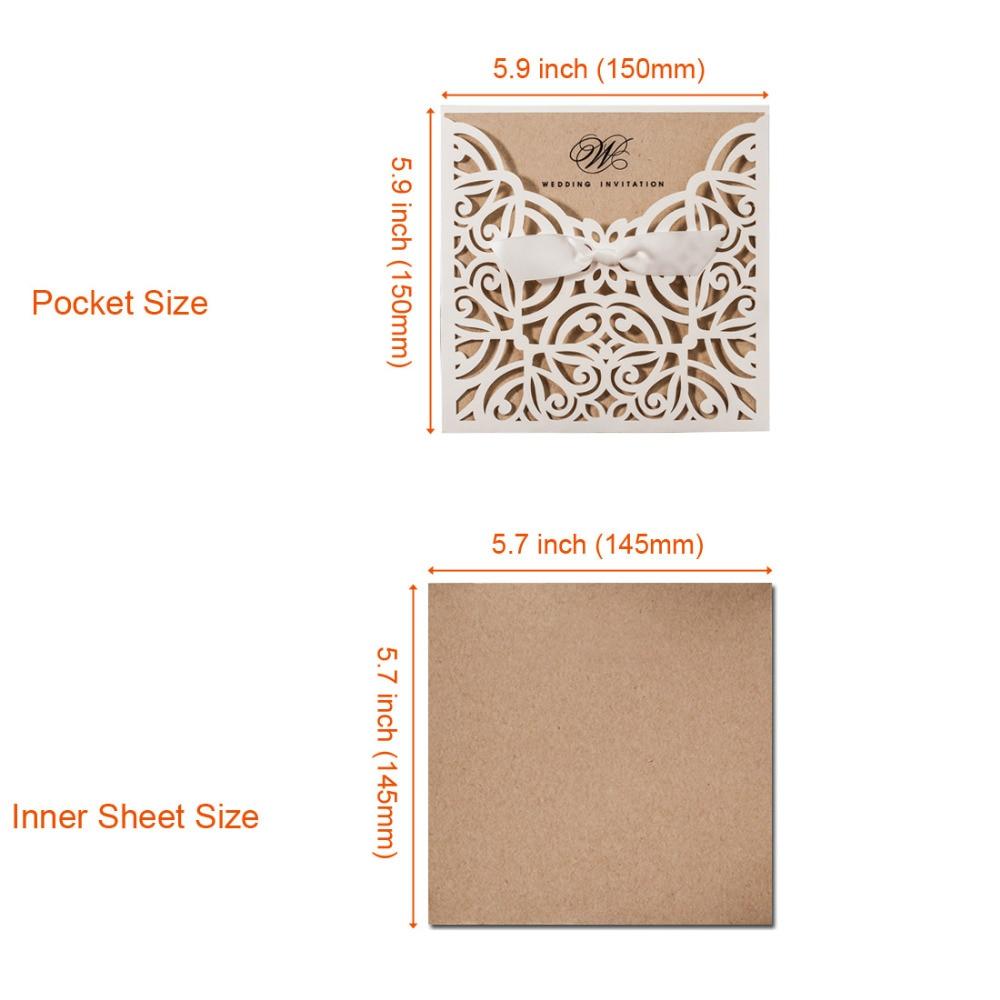 50pcs Lot Laser Cut Wedding Invitations Kraft Paper Ivory Shell