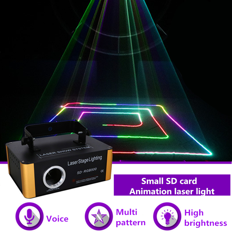 AUCD 500 mw RGB Laser Kleine SD Karte Programm DMX Animation Projektor Bühne Beleuchtung PRO DJ Zeigen Scanner Licht SD-RGB500