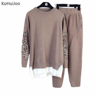 KoHuiJoo Spring Autumn Women's Knit Pants Suit Heavy Beading Sleeve Sweater Pants Sets Knitted Casual Two Piece Fitness Set