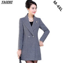Spring New Women Woolen Coat Middle aged Mother Clothing Women Outerwear Casual Tops Slim Large Size