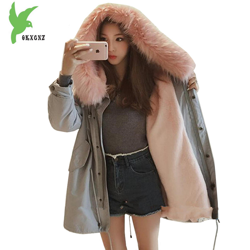 New Winter Women Flocking Cotton Jacket Students Warm Coat Fashion Hooded Fur Collar Windproof Plus Size Loose Parkas OKXGNZ 992 winter jacket female parkas hooded fur collar long down cotton jacket thicken warm cotton padded women coat plus size 3xl k450