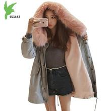 New Winter Women Flocking Cotton Jacket Students Warm Coat Fashion Hooded Fur Collar Windproof Plus Size Loose Parkas OKXGNZ 992