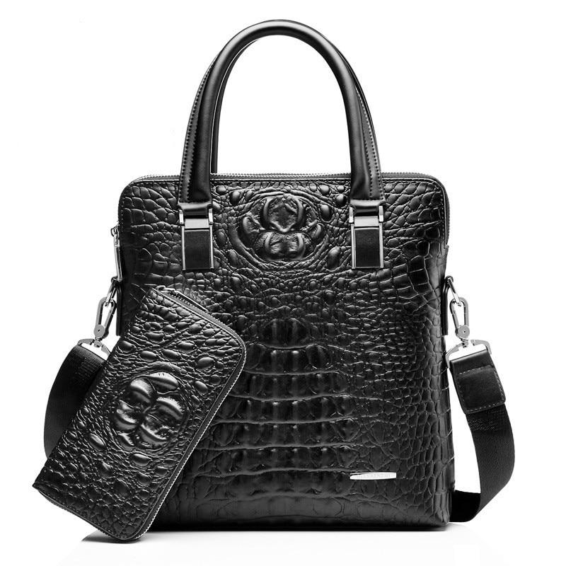 New Men Business Handbags Laptop Bags Solid Color Briefcases Crocodile Leather Fashion Shoulder Bag 2 SetsNew Men Business Handbags Laptop Bags Solid Color Briefcases Crocodile Leather Fashion Shoulder Bag 2 Sets