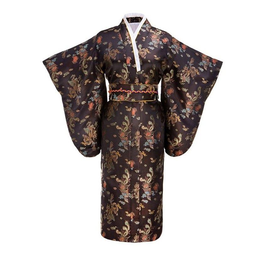 Kimono en soie traditionnel noir japonais femme avec Obi robe de soirée Vintage Performance robe de danse Costume Cosplay taille unique