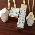 2016 Estilo Caliente de Moda de Verano Marca de Moda de Diseño Geométrico Blanco Mármol de Imitación Collar Colgante de Piedra para Las Mujeres