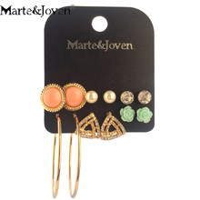 Marte&Joven 6 Pairs Multiple Round/Triangle Rhinestone Stud Earrings Set for Women Cute Gold Color Big Ear Studs Circle Earring(China)