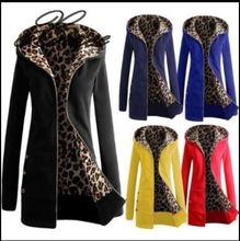 Xnxee autumn and winter new hooded padded leopard sweater large size coat women