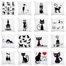 Новая распродажа, черная наволочка с рисунком кота из мультфильма, наволочка для дома, диванная подушка для офиса, наволочка для подушки 45*45 см, наволочка