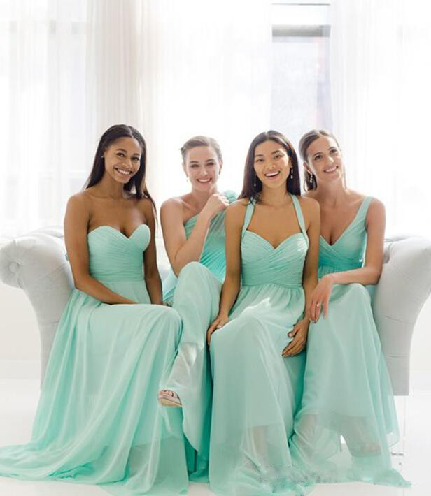 Online get cheap beach wedding bridesmaid dress for Green beach wedding dresses