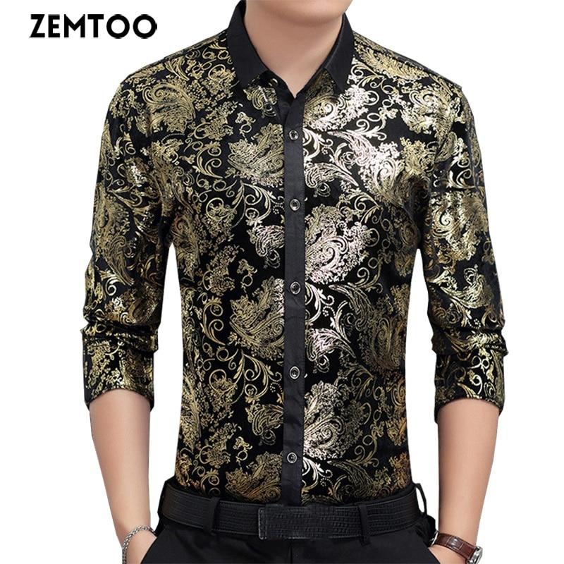 Chemise décontracté pour hommes chemise en velours doré chemise à emboutir en or chemise de soirée pour boîte de nuit pour hommes