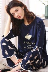 Image 5 - Woman Lovely Wear Leisure Clothes Personality Spring Summer White Rabbit Print Three Quarter Women Pajamas For Women Pyjamas Set